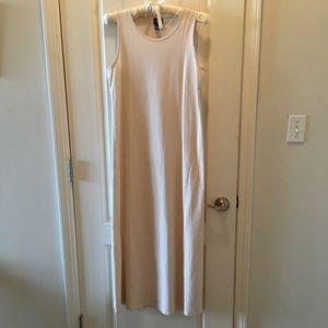 EILEEN FISHER Nude bone minimalist maxi dress XS